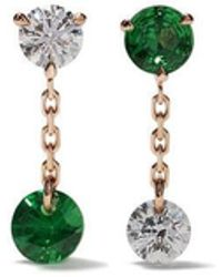Raphaele Canot - 18kt Rose Gold Set Free Mismatch Tsavorite And Diamond Earrings - Lyst