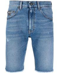 Versace Jeans Couture Джинсовые Шорты С Бахромой - Синий
