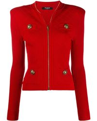 Balmain Zip-up Knitted Cardigan - Red