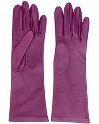 Saint Laurent ロゴ 手袋 - パープル