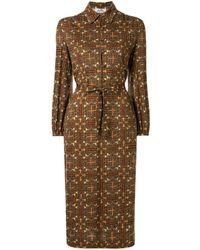 Hermès Robe-chemise à motif de chevaux pre-owned - Marron