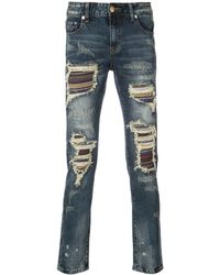God's Masterful Children Soto Stripe Panel Distressed Jeans - Blue