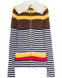 Miu Miu Striped Zip-up Cardigan - Brown