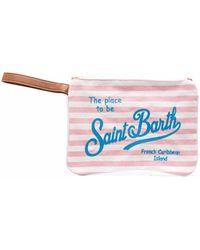 Mc2 Saint Barth Stripe-print Logo-embroidery Clutch Bag - White