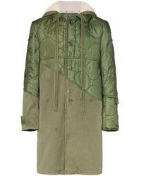 Greg Lauren Paneled Hooded Coat - Green