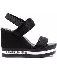 Calvin Klein Logo-print Wedge Sandals - Black