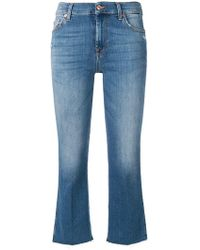 7 For All Mankind - Cropped Straight Jeans - Lyst