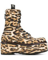 R13 Ботинки На Платформе С Леопардовым Узором - Черный