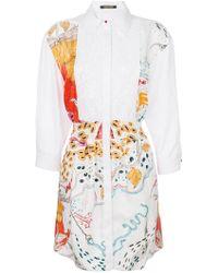 Roberto Cavalli - Printed Embroidered Shirt Dress - Lyst