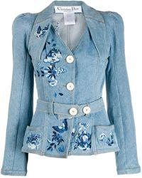 Dior Veste en jean à taille ceinturée - Bleu