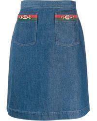 Gucci - Web Double Pocket Denim Skirt - Lyst