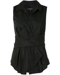 Paule Ka リボン ノースリーブシャツ - ブラック