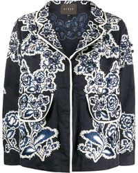 Biyan Embroidered Fitted Jacket - Blue