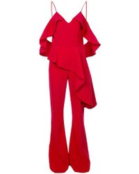 Christian Siriano - Ruffled Off-shoulder Jumpsuit - Lyst