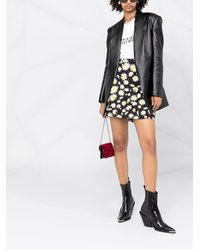 Saint Laurent フローラル ミニスカート - ブラック