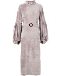 Framed Vermont Velvet Midi Dress - Grey