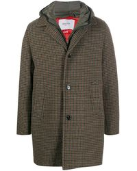 Paltò Shell-panelled Houndstooth Coat - Brown