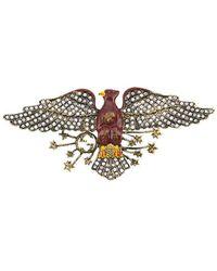Gucci Broche con diseño de águila y detalles de cristal - Metálico