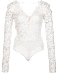 Tadashi Shoji Philo Long Sleeve Bodysuit - White