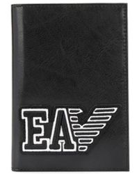 Emporio Armani Logo Patch Passport Holder - Black
