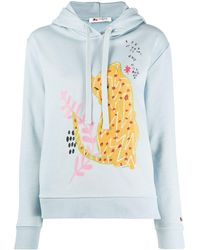 Ports 1961 Embroidered Appliqué Hoodie - Blue