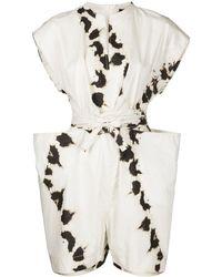 Bassike Tie-dye Cotton Wrap Playsuit - White