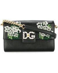 Dolce & Gabbana White Geranium Embroidered Dg Millennials Shoulder Bag - Зеленый
