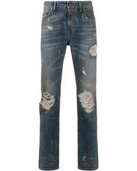 B-Used Jeans in Distressed-Optik - Blau