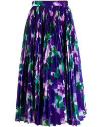 Richard Quinn Floral Print Pleated Skirt - Purple