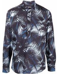 Orlebar Brown Camisa con motivo de palmeras - Azul