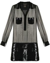 Louis Vuitton Vestido corto semitranslúcido pre-owned - Negro