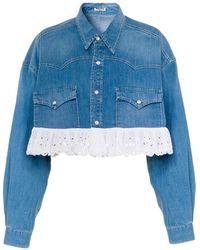Miu Miu Embroidered Hem Cropped Denim Jacket - Blue