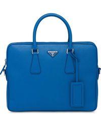 Prada Mallette en cuir à plaque logo - Bleu
