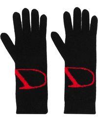 Valentino Garavani Knitted Vlogo Gloves - Black