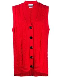 Ganni Cable Knit Sleeveless Jumper - Red