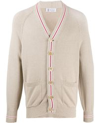 Brunello Cucinelli Cardigan con bordi a righe - Multicolore