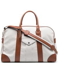 Brunello Cucinelli Leather Panelled Holdall - White