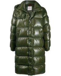 Moncler Пальто-пуховик С Нашивкой-логотипом - Зеленый