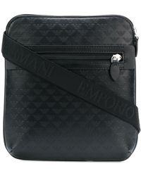 Emporio Armani Logo Embossed Messenger Bag - Black