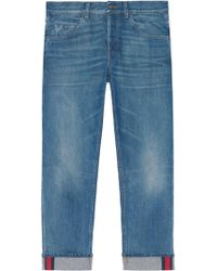 Gucci - Tapered Denim Trousers With Web - Lyst