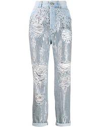 Balmain Jean ample à sequins brodés - Bleu