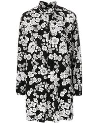 Boutique Moschino - Floral Printed Crepe De Chine Dress - Lyst