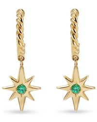 David Yurman Серьги-кольца North Star Из Желтого Золота С Изумрудами - Металлик