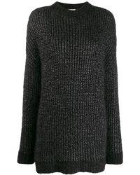 Saint Laurent Metallic Loose-knit Sweater - Black