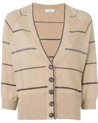 Brunello Cucinelli Striped V-neck Cardigan - Brown