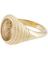 Retrouvai Pineapple Signet Ring - Metallic