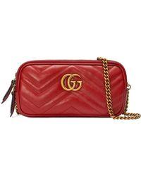 Gucci GG Marmont Mini Chain Bag - Rood