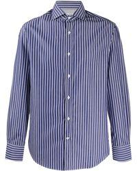 Brunello Cucinelli Полосатая Рубашка С Длинными Рукавами - Синий