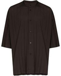 Issey Miyake Edge Pleated Shirt - Brown
