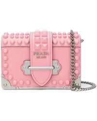 Prada - Studded Saffiano Cahier Bag - Lyst
